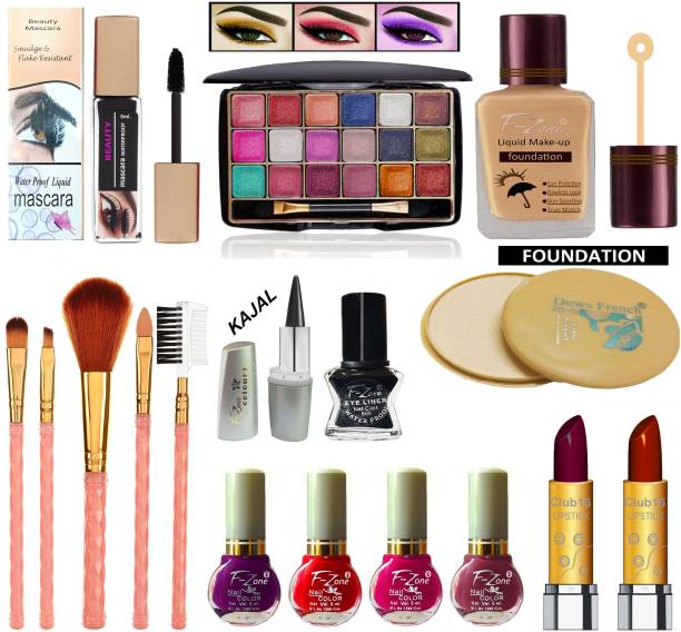 F-Zone Daily use & Party Wear Makeup Kit Of 17 Makeup Items NC62