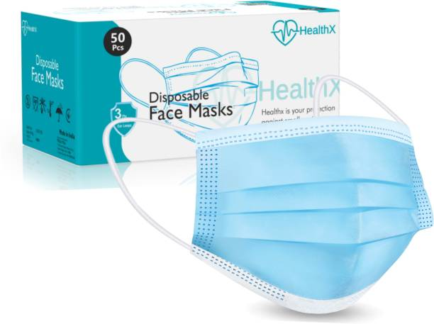 HealthX 3 Layer Disposable 100 Pieces Non-Woven Fabric with Adjustable Nose Pin (PEE)?94% and (BFE)?97% Lab Tested Face Surgical Mask