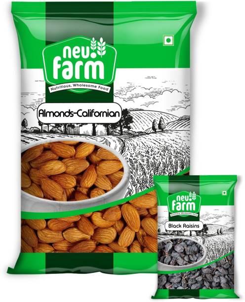 Neu.Farm California Almonds 1kg - Black Raisins 200g Free - Badam - Kishmish - Combo Pack - 1.2kg Almonds, Raisins