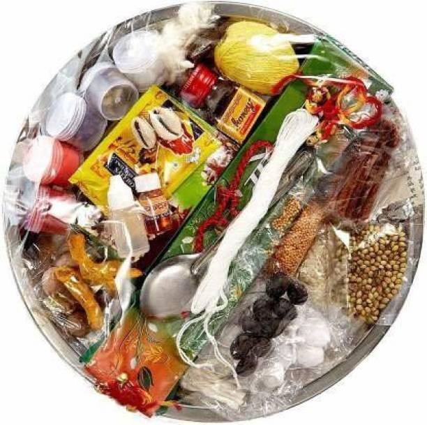 rsd enterprise Puja Thali of 32 ingredients for Durga Puja ,Hawan Puja, Diwali Pujan, Navrata Pujan Bamboo
