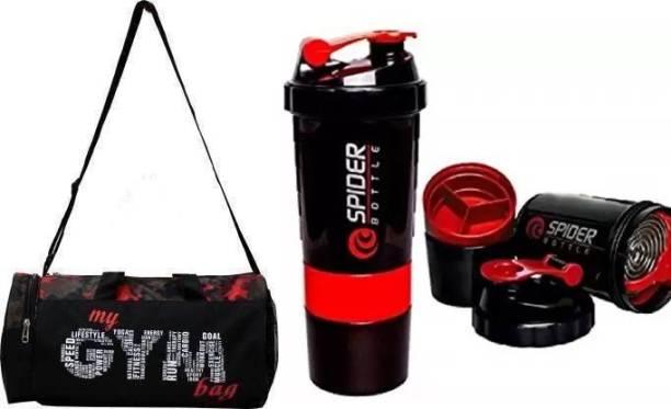 EMMCRAZ Multi-Purpose MY GYM BAG with spider bottle (Kit Bag) (Black, Kit Bag)