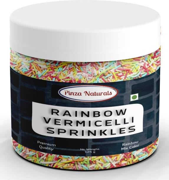 Pinza Naturals Rainbow Vermicelli Sprinkles I Ideal for Cake Decoration & Toppings I Edible Sprinkle Sprinkles