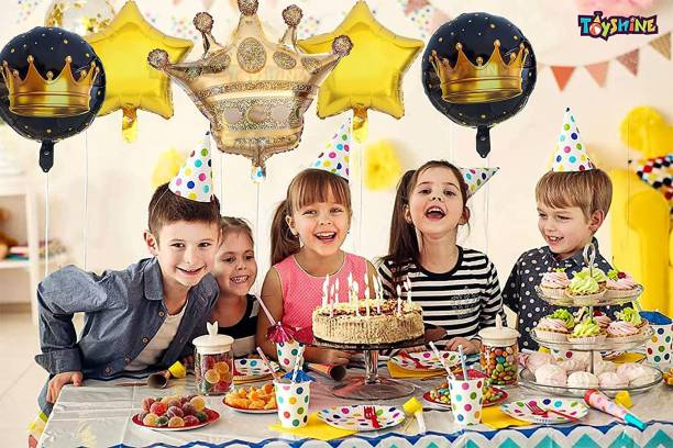 """Elegant Lifestyle Solid 30"""" inch King Crown Theme Shape Foil Balloon + 18"""" inch 2 Gold Star Shape + 2 Round Shape Happy Birthday Foil Balloon for Birthday Decoration, Party Balloon"""