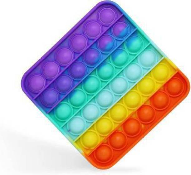 WONDER CREATURES Fidget Toy - Rainbow Popit Push pop Toy for Adults and Children. Popping Sensory fidgets Bubble Toy - Autism and Special Needs Stress Reliever - Square Rainbow Party & Fun Games Board Game Board Game Accessories Board Game