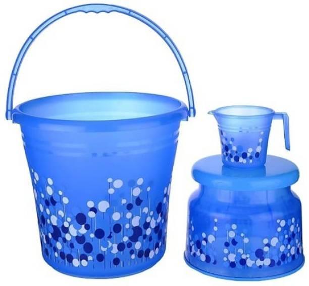 Onzina New Standard Plastic Bucket with Mug & Stool ( Blue ) 30 L Plastic Bucket