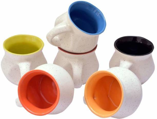B2R Pack of 6 Ceramic, Bone China Stylish Ceramic Handcrafted Rajasthani Matki Shape Microwave Safe Tea Cup/Coffee Cup Set Ideal Best Gift for Friends, Family, Home, Office use, Kitchen Cup Set (Set of 6, 130 ML)