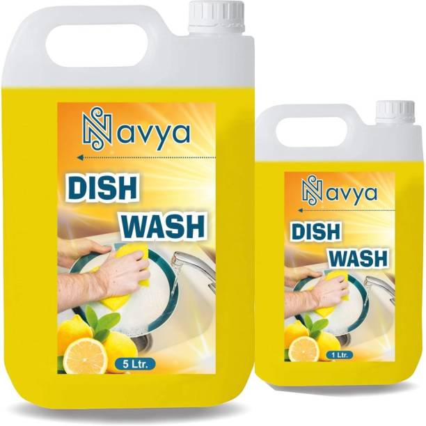 Navya 5 LTR + 1 LTR Non Acidic dish wash Liquid Detergent (5 l) Dish Cleaning Gel (lemon, 5 L) Dishwash Bar (5000 g) Dishwash Bar