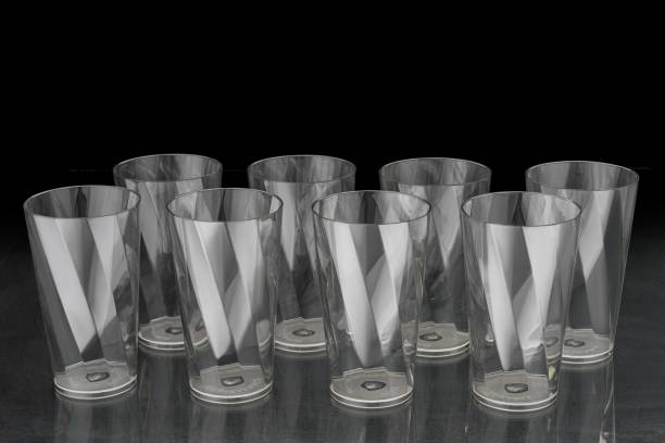 Nexium (Pack of 8) Twisted Shape Unbreakable Plastic Water Glasses TRANSPARENT Glass Set