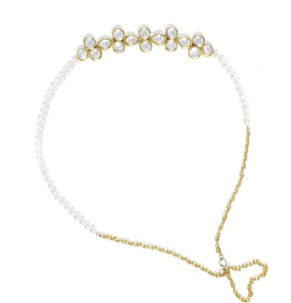 Karatcart Gold Plated Pearl and Kundan Studeed Hair Band