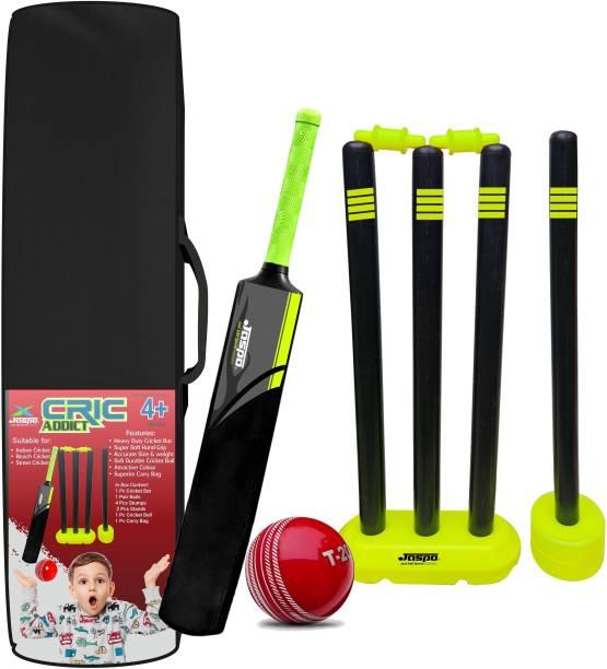 Jaspo CRIC Addict Plastic Cricket Bat Set Combo with Soft Cricket Ball for Kids Cricket Kit