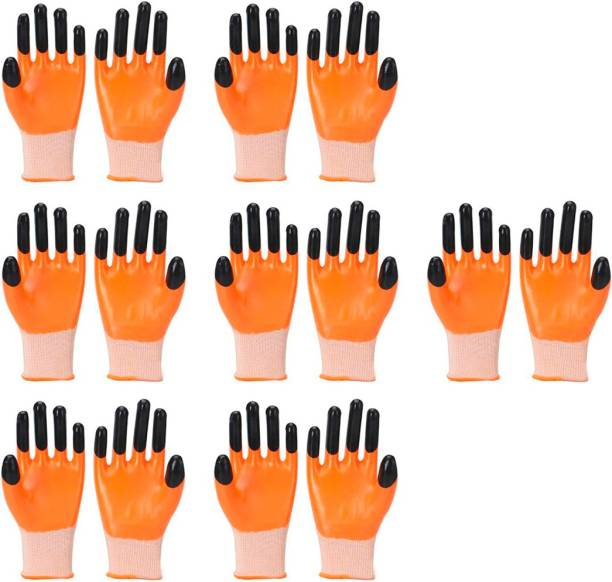 Safies Tiger Print Multipurpose Reusable & Washable Palm Coated Safety Gloves For Men & Women (Pack Of 7 Pairs) XL Latex  Safety Gloves