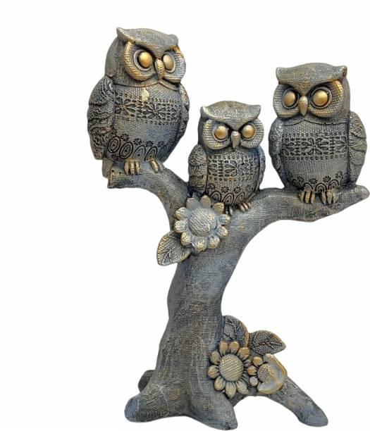 Art N Soul Set Of 3 Decorative Owl Showpiece Standing On Tree Decorative Showpiece  -  25 cm