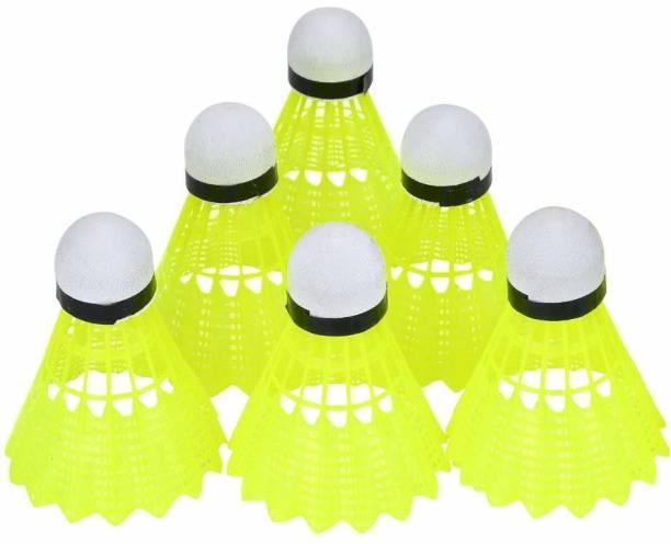 TIMA Nylon Badminton Shuttlecocks Birdies, Training High Speed Cork Balls (Pack of 6) Nylon Shuttle  - Yellow