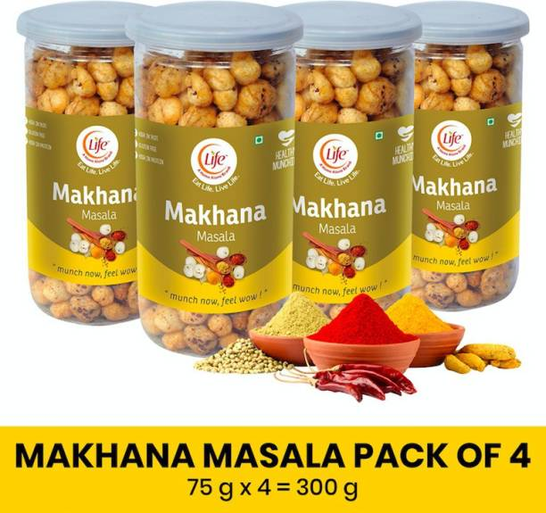 Life Roasted Healthy High Protein High Calcium Gluten Free Makhana | MASALA - Flavor| (Each-75g) Munch Anytime Crunch Pack of -4 (Combo - 300g)