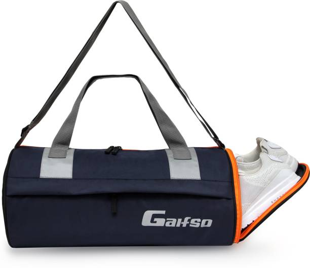 Gaifso Polyester Separate Shoe Compartment Sports Duffel Gym bag (Navy Blue and Orange)