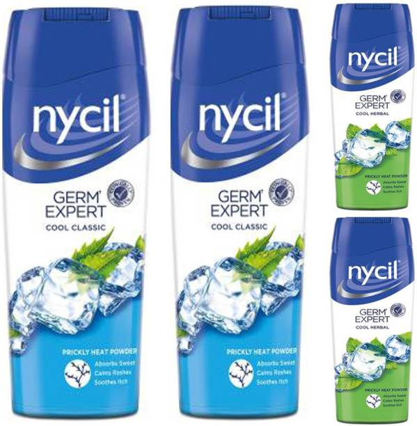 NYCIL Germ Expert Cool Classic 2X150g + Cool Herbal Prickly Heat Powder 2X50g