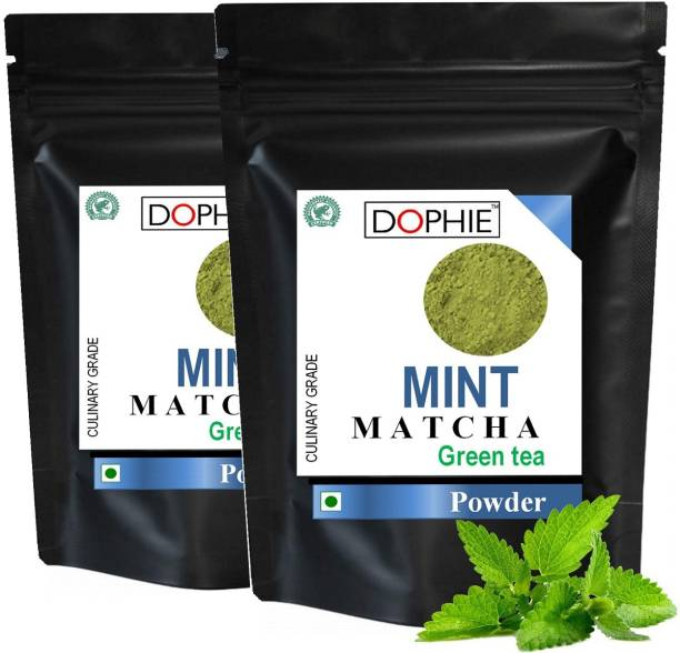 dophie Peppermint Matcha Green Tea Powder 100g [PACK-2] Superior Culinary grade Matcha green tea with Mint - Natural Energy & Focus Booster Packed With Antioxidants more than Green Tea Bags Peppermint Matcha Tea Pouch