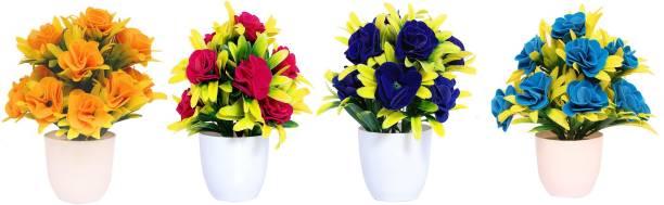 S-Biv Multicolor Rose Artificial Flower  with Pot