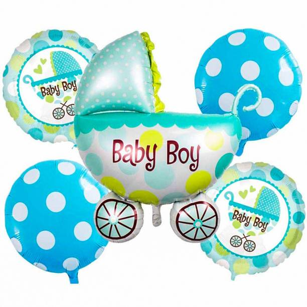 Elegant Lifestyle Solid It's a Boy, Baby Shower Foil Balloons Party Decoration, Boy Arrival Birthday Party Decoration Supplies, Inflatable Air Cradle Shaped Balloon with Round Balloon
