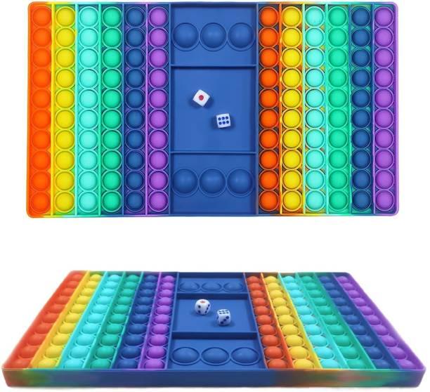 sunvadiya ludo game Big Pop Game Fidget Toy,Jumbo Rainbow Chess Board Push Bubble Popper Fidget Sensory Toys for Parent-Child Time Money & Assets Games Board Game