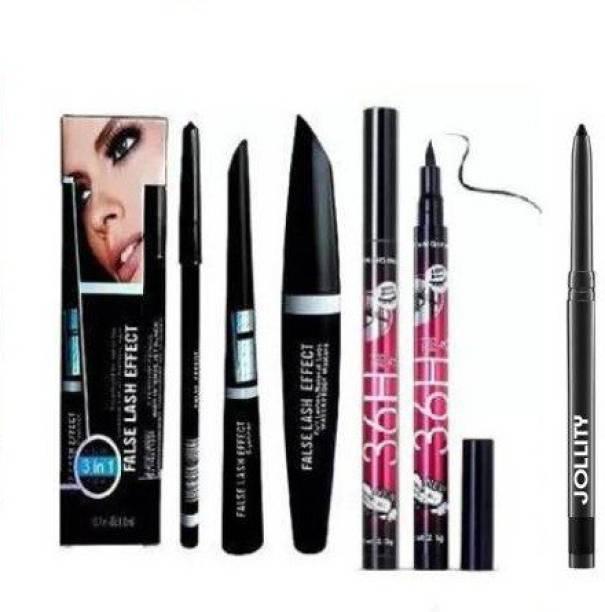 sunesa Makeup Beauty Kajal & 3in1 Eyeliner , Mascara , Eyebrow Pencil & High Quality Waterproof Liquid-Eye Liner 36H ( PACK OF 6 )