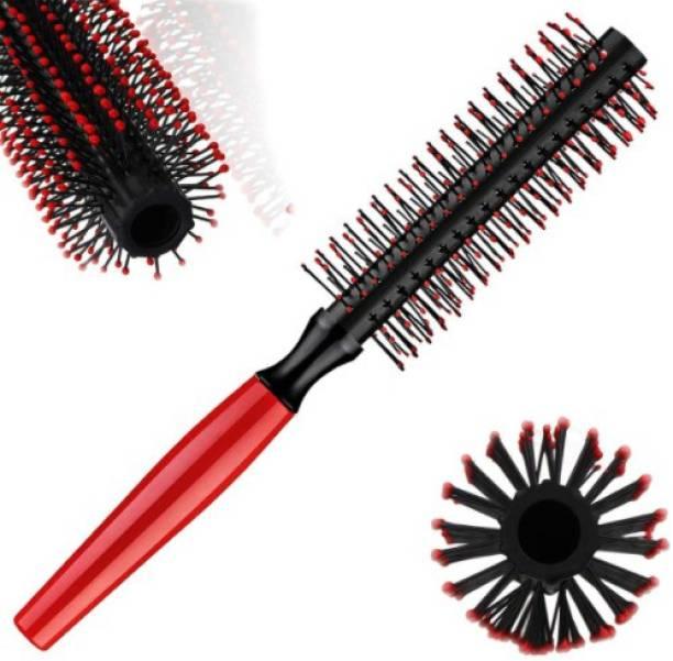 feelhigh Red Plastic Hair Styling Brush Massage Scalp Hair Brush with Nylon Bristles, Barber Comb for Women, Men And Kids,