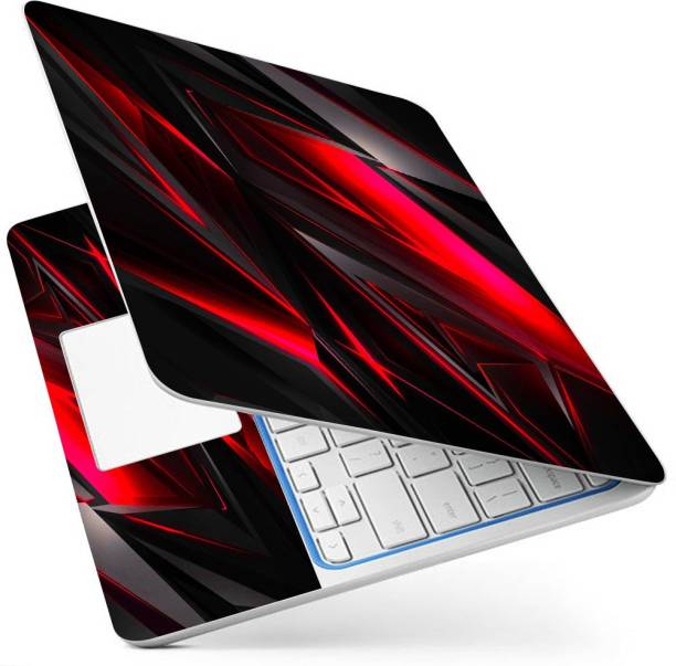 POINT ART HQ Laptop Skin Full Panel Decal Sticker Glossy Vinyl Fits Size Bubble Free – Red Geometric Vinyl Laptop Decal 15.6