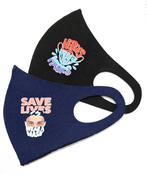Ayezent Ultra Comfortable Washable Reusable Face Mask - Super Breathable and Stretchable Mask Fabric for Ultimate Comfort, Korean Mask, Sponge Face Mask, Anti Pollution Mask , Printed Mask – Heroes Wear Masks , Save Lives Wear Mask Reusable, Washable, Water Resistant Surgical Mask