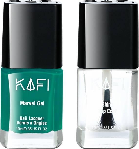 KAFI Gel Nail Polish - Long lasting, Non Toxic, High Shine, Vegan, 10 Free Formula, Salon Pro) - Nights Of Northern Lights, Protective Top Coat