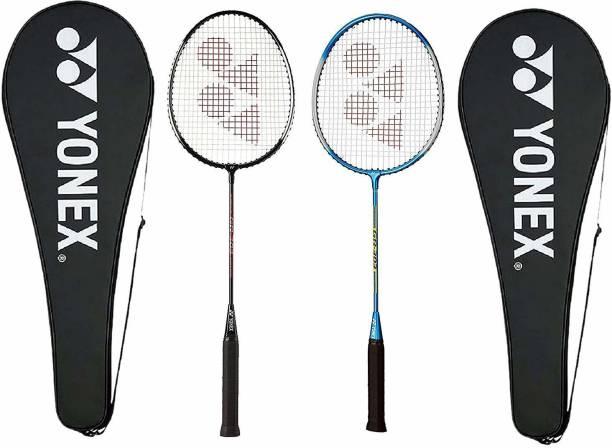 YONEX GR 303 Combo Aluminum Badminton Racquet with Full Cover, Set of 2 (Black/Blue) Blue, Black Strung Badminton Racquet