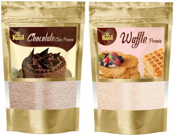 Mr.Kool Special Chocolate Cake Premix & Waffle Mix Powder 200g Combo Pack for Cake   Crunchy Waffle Making 100g Each 200 g