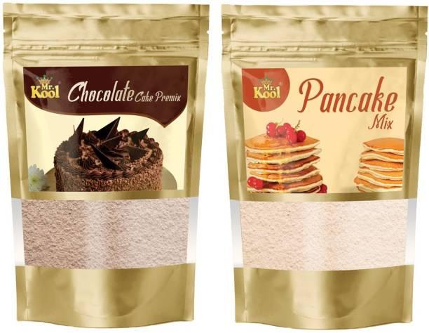 Mr.Kool Special Chocolate & Pancake Mix Cake Premix Powder 200g Combo Pack for Cake   Pancake Making 100g Each 200 g