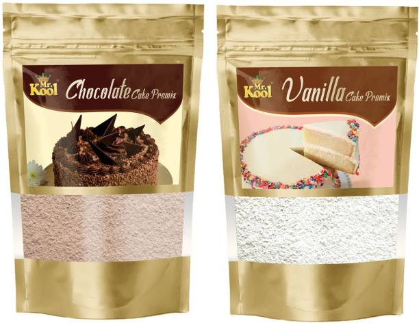 Mr.Kool Instant Eggless Chocolate & Vanilla Cake Premix Powder 100g Combo Pack for Cake Baking | Cookies, Pastry 200g 200 g