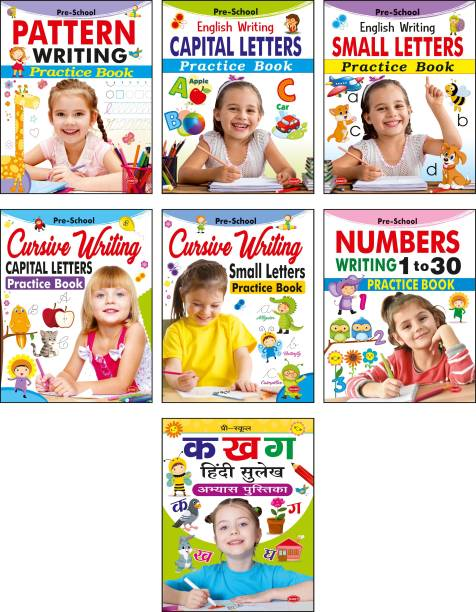 Preschool Writing Practice Book Set For Preschooler : Pack Of 7 Books : Capital Letters, Small Letters, Patterns And Numbers 1 To 30, Cursive Capital Letters, Cursive Small Letters, Hindi Sulekh   Total 240 Pages