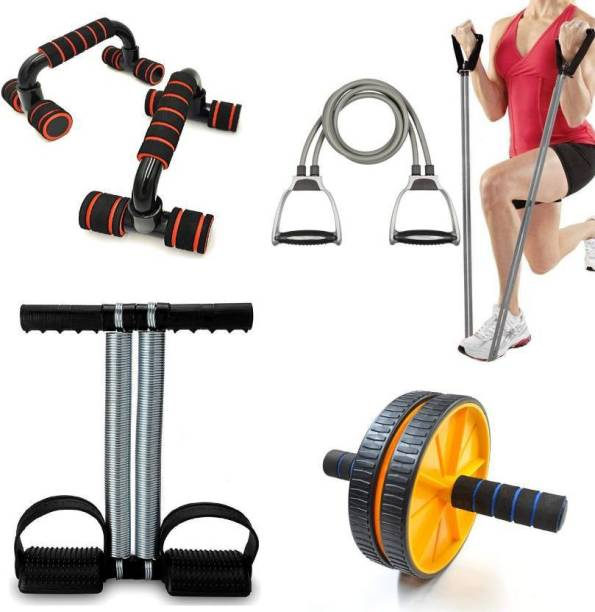 Manogyam Double Toning Resistance Tube, Heavy Tummy Trimmer , Pushup bar And Ab roller Resistance Tube