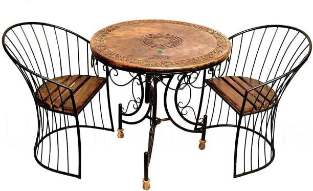 Smarts collection Wooden and Wrought Iron Patio and Garden Dining Set 2 Chair and Round Table Furniture Set for Balcony Garden Indoor Outdoor Terrace Leatherette 2 + 2 BROWN Sofa Set