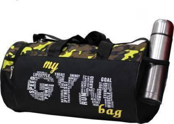 EMMCRAZ Black/green CAMOUFLAGE Pattern Multi-Purpose MY GYM BAG with Side Pocket