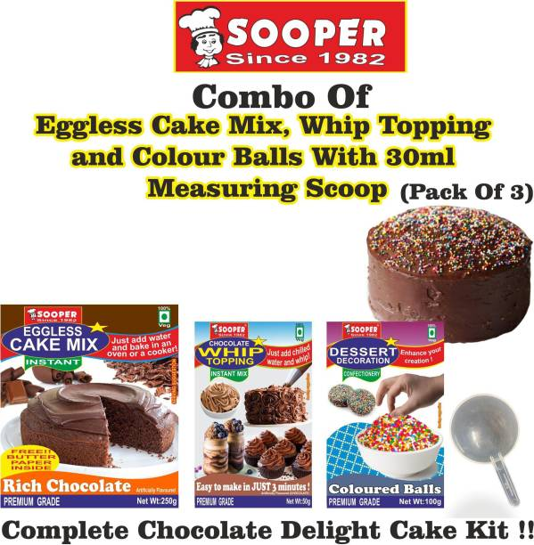 SOOPER Chocolate Cake Mix 250g+ Whipping Cream Mix 50g+ Colored Balls 100g+ SCOOP Topping Topping