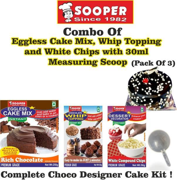 SOOPER Chocolate Cake Mix 250g+ Whipping Cream Mix 50g+ White Choco Chips 50g+ SCOOP Topping