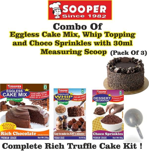 SOOPER Chocolate Cake Mix 250g+ Whipping Cream Mix 50g+ Choco Sprinkles 50g+ SCOOP Topping