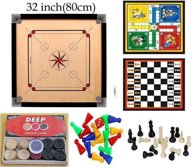 YMD Matte large Carrom Board With 2 in 1 Ludo Chess 6.35 cm Carrom Board