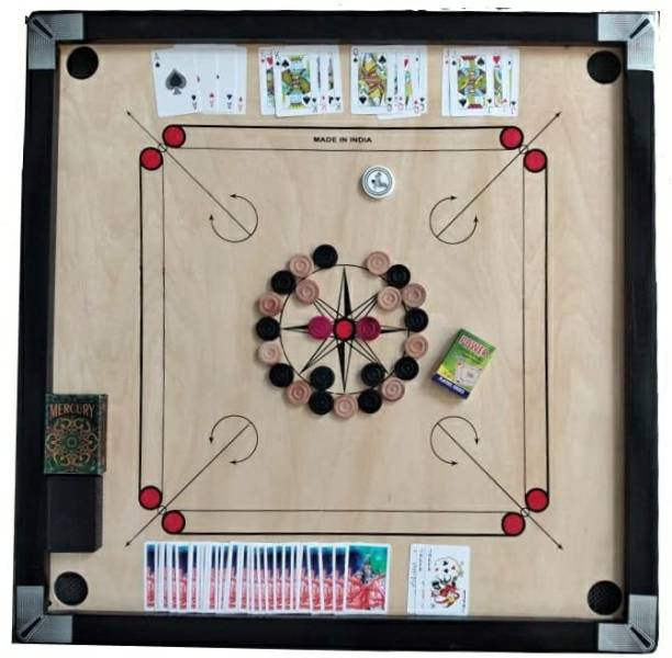 YMD Matte large Carrom Board with 52 Card ,Wooden Coins Striker (32 x 32 Inch) 80 cm Carrom Board