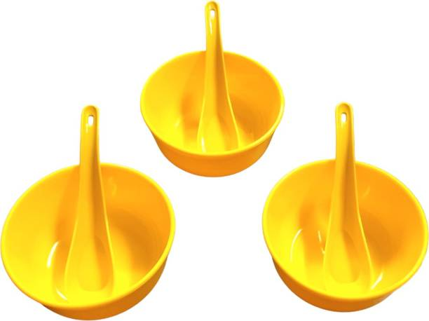 Boxette Set of 3 Bowl with 3 Spoon Yellow Bowl Set (Pack of 6) Polypropylene Soup Bowl