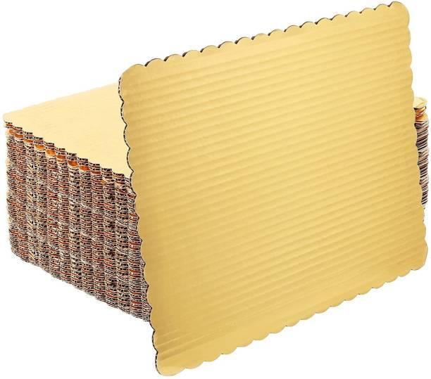 MOONBELL Square Cake Base Gold Paper Cake Server