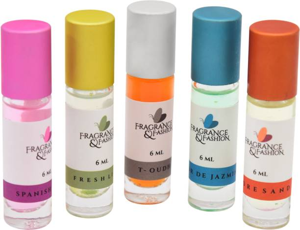 Fragrance & Fashion Set of 5 Natural Attars Of 6 Ml each Floral Attar
