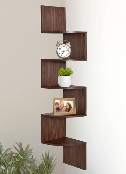 classiconline Wall Mount Corner 5 Tier Engineered Wood Display Unit