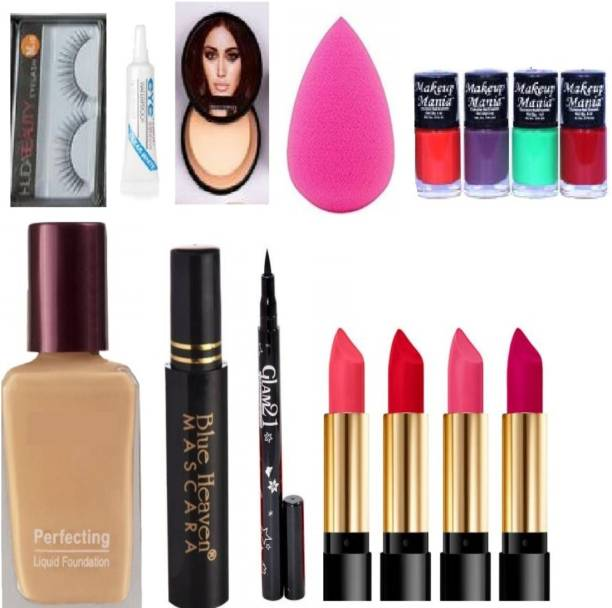 Digicare 15 Items in the combo kit four lipstick, 1 blender puff, 1 waterproof mascara, 1 eyeliner, 1 foundation, 1 compact ,1 pair of eyelashes with glue & four nail paint