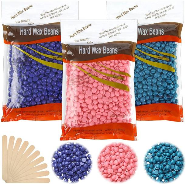 WAIT2SHOP Hard Wax Beans for Hair Removal 300 gm Body Facial Hair Removal Wax Beads Large Refill Faux Pearl Beans with 10 Pieces Waxing Spatulas for Women Men Legs, Face, Underarm, Bikini Wax