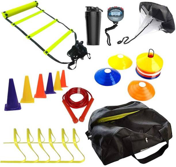 Roxan Agility Ladder 4 Mtr, Agility Hurdle 6 Inch, Running Speed Chute, Marking Cone 6 Inch, Skipping Rope, Stop Watch, Shaker, Saucer Cone Football & Fitness Kit