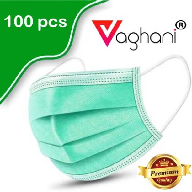 Vaghani 100 Pcs With Nose Pin Relience Green Mask With Nose Pin Disposable Iso Mark 3 Ply Pharmaceutical Breathable Surgical Pollution Face Mask Respirator with 3 Layer For Men, Women, Kids 3 Ply Surgical Mask (100 Piece) ( Relience Green ) Surgical Mask With Melt Blown Fabric Layer